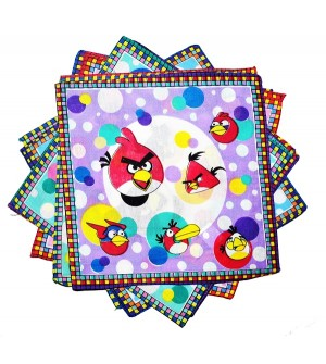 Sofil Cartoons Angry Birds Muti Colour Handkerchief For Kids & Girls (Pack of 12)