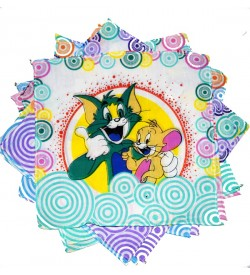 Sofil Cartoons Tom & Jerry Muti Colour Handkerchief For Kids & Girls (Pack of 12)