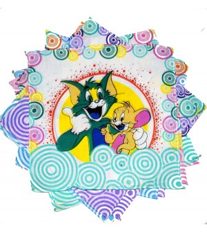 Sofil Cartoons Tom & Jerry Muti Colour Handkerchief For Kids & Girls (Pack of 12)