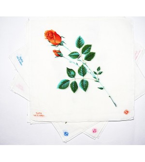 Sofil Love Rose Multi Colour Cotton Handkerchief For Gilrs (Pack of 12)