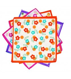Sofil Colourful Flower Multi Colour Cotton Handkerchief For Girls (Pack of 12)