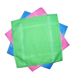 Sofil Plain Multi Colour Cotton Handkerchief For Gilrs (Pack of 12)
