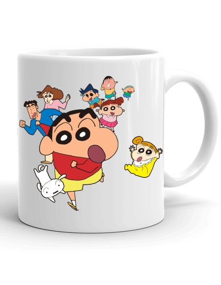 Samudhraa Double Side different shinchanFamily And Friends print Ceramic Mug (300ml)