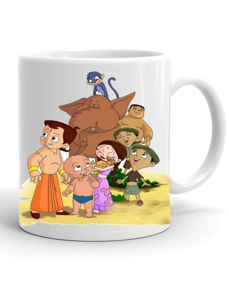 Samudhraa Double Side Chhota Bheem And Friends Print Ceramic Mug (300ml)