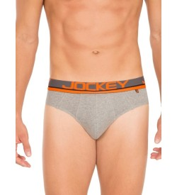 Jockey Grey Melange & Neon Orange Bold Brief