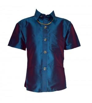 Ak Kutti Mappillai Cotton Shirt and Dhoti set for Kids/Boys Velcro hip closure Dhoties -KI7268
