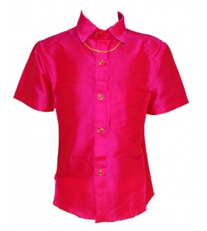 Ak Kutti Mappillai Cotton Shirt and Dhoti set for Kids/Boys Velcro hip closure Dhoties -KI7272