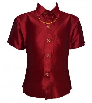 Ak Kutti Mappillai Cotton Shirt and Dhoti set for Kids/Boys Velcro hip closure Dhoties -KI7277