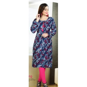 Aanchi Mannat Multi Colour Satin Print  Full Sleeve Kurti For Women's And Girls - KU_103