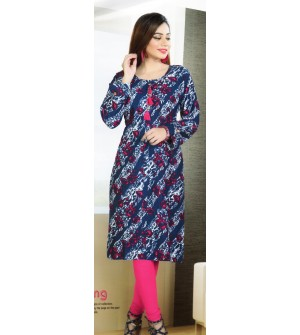Aanchi Mannat Multi Colour Satin Print  Full Sleeve Kurti For Women's And Girls - KU_103