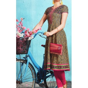Aanchi Princess Multi Colour Embroidered Designed Hlaf Sleeve Kurti For Women's And Girls - KU_1401