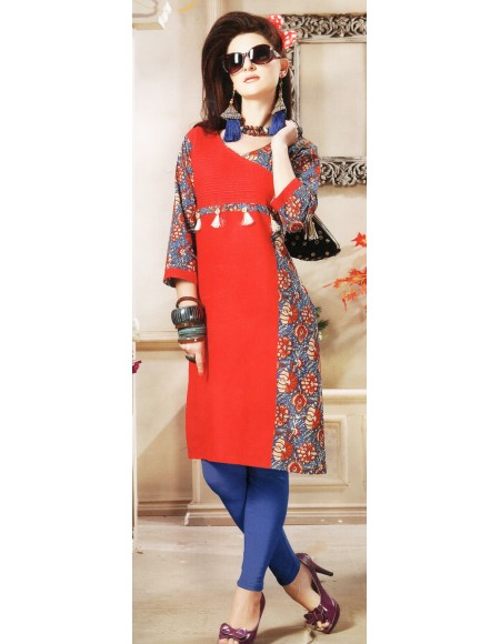 Aanchi A-class Red , Multi Colour Print 3/4 Sleeve Kurti For Women's And Girls - KU_101