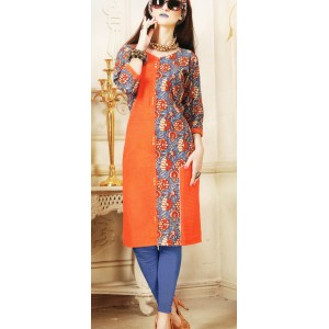Aanchi A-class Orange And Multi Colour Satin Print 3/4 Sleeve Kurti For Women's And Girls - KU_107
