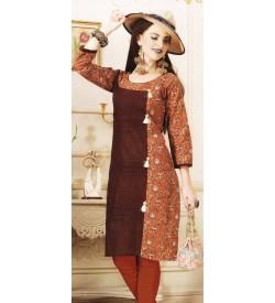 Aanchi A-class Brown,Multi Colour Print 3/4 Sleeve Kurti For Women's And Girls - KU_104