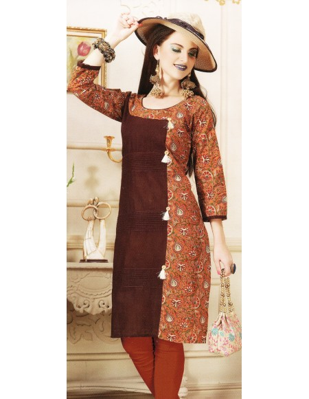 Aanchi A-class Brown,Multi Colour Print 3/4 Sleeve Kurti For Women's And Girls - KU_104