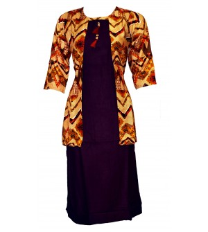 Maatra Print 3/4 Sleeve Cotton  Kurti For Women's And Girls - KU_0008