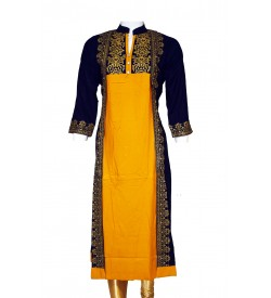 Maatra Navy Blue Print Coller 3/4 Sleeve Kurti For Women's And Girls - KU_0013