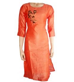 Lepsy Silk mode-153 Flower Designed Papaya Orange 3/4 Sleeve Kurti For Women's And Girls - KU_1543