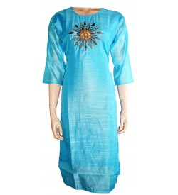 Lepsy Silky-60 Flower Designed Sky Blue 3/4 Sleeve Kurti For Women's And Girls - KU_1547