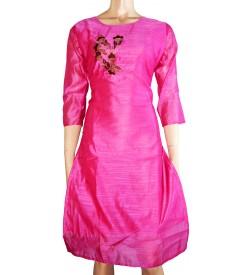 Lepsy Silk mode-153 Flower Designed Rani Pink 3/4 Sleeve Kurti For Women's And Girls - KU_1551