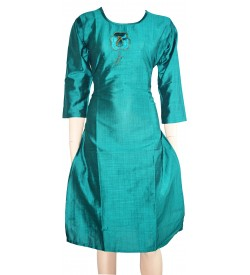 Lepsy Silk mode-153 Flower Designed Rama Green 3/4 Sleeve Kurti For Women's And Girls - KU_1555