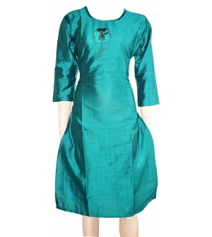 Lepsy Silk mode-153 Flower Designed Rama Green 3/4 Sleeve Kurti For Women's And Girls - KU_1555