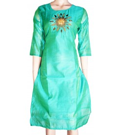 Lepsy Silk mode-153 Flower Designed Chilly Green 3/4 Sleeve Kurti For Women's And Girls - KU_1560