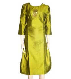 Lepsy Silk mode-153 Flower Designed Parrot Green 3/4 Sleeve Kurti For Women's And Girls - KU_1565