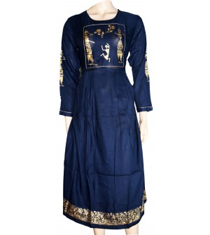 She's Studio Navy Blue Coloured Fancy Long 3/4 Sleeve Kurti With Dupatta For Women's And Girls - KU_1602
