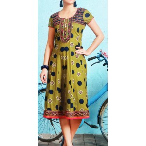 Aanchi Princess Green, Multi Colour Embroidered Designed Half Sleeve Kurti For Women's And Girls - KU_1408