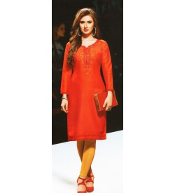 Aanchi Papaya Orange  Embroidered Print 3/4 Sleeve Kurti For Women's And Girls - KU_604