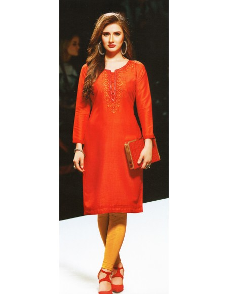 Aanchi Papaya Orange  Embroidered Print 3/4 Sleeve Kurti For Women's And Girls - KU_604