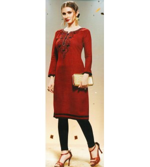 Aanchi Maroon Embroidered Print 3/4 Sleeve Kurti For Women's And Girls - KU_606