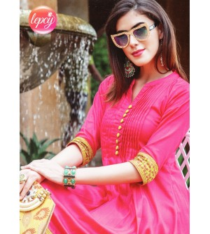 Lepsy Dream Fashion Pink Plain 3/4 Sleeve Kurti For Women's And Girls - KU_1111
