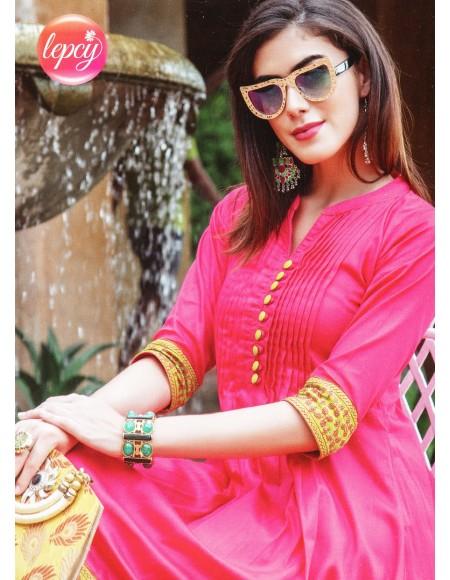Lepsy Dream Fashion Pink Plain 3/4 Sleeve Kurti For Women's And Girls - KU_1111