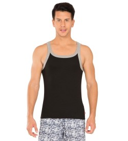 Jockey Black & Grey Melange Fashion Vest