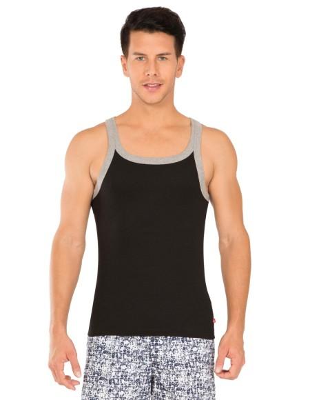 Jockey Black & Grey Melange Fashion Vest