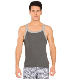 Jockey Charcoal Melange & Grey Melange Fashion Vest