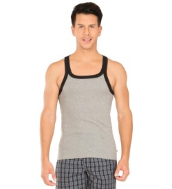 Jockey Grey Melange & Black Fashion Vest