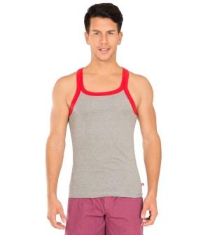 Jockey Grey Melange & Red Bias Fashion Vest