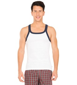 Jockey White & Navy Fashion Vest