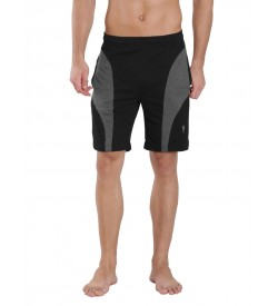 Jockey Black & Charcoal Melange Knit Sport Shorts - 9411