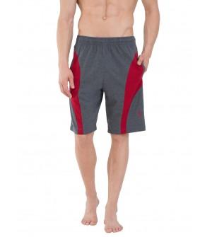 Jockey Charcoal Melange & Shanghai Red Knit Sport Shorts - 9411