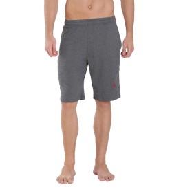 Jockey Charcoal Melange & Shanghai Red Knit Sport Shorts - 9426