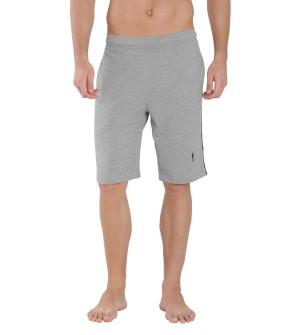 Jockey Grey Melange & Navy Knit Sport Shorts - 9426