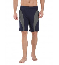 Jockey Navy & Charcoal Melange Knit Sport Shorts - 9411