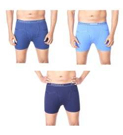 Poomex Comfort Pocket Trunks Navy Blue, Saxi Blue, Indigo Colour  (Pack of 3) - 01