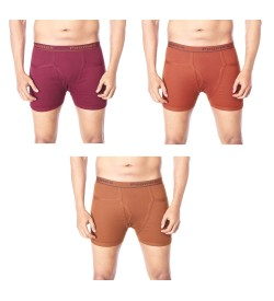 Poomex Comfort Pocket Trunks Maroon, Coffee Brown, Snuff Colour (Pack of 3) - 02