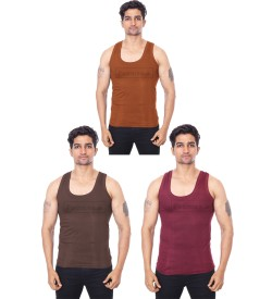 Poomex Golden RN Maroon, Coffee Brown, Snuff Colour Vest (Pack of 3) 02