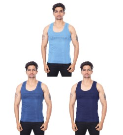 Poomex Golden RN Navy Blue, Saxi Blue, Indigo Colour Vest (Pack of 3) 01